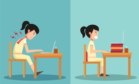 good and bad: Illustration of isolated the sample of the guy sitting in wrong and right ways