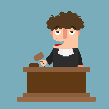 arbitrate: illustration of isolated judge with gavel vector