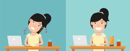 buena postura: Mejores y peores posiciones para hablar a través de illustrationvector teléfono inteligente Vectores