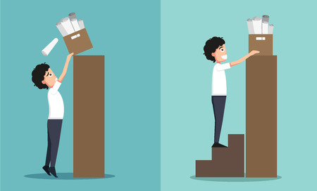 at work: Improper versus against proper lifting ,illustration,vector