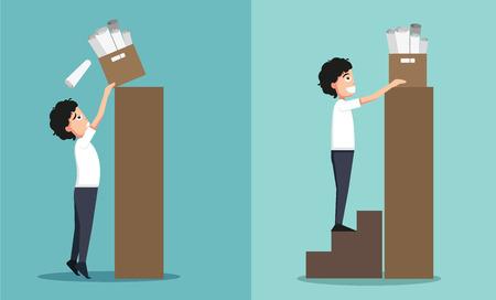 Improper versus against proper lifting ,illustration,vector