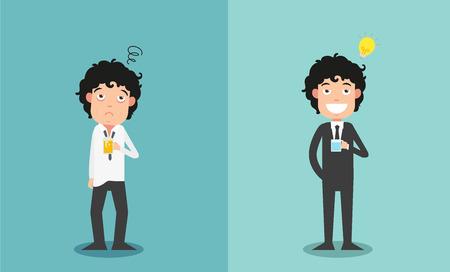 agotado: La comparación de dos empresarios por su entusiasmo trabajo, ejemplo, vector