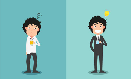 tired businessman: The comparison of two businessmen for their work enthusiasm, illustration,vector
