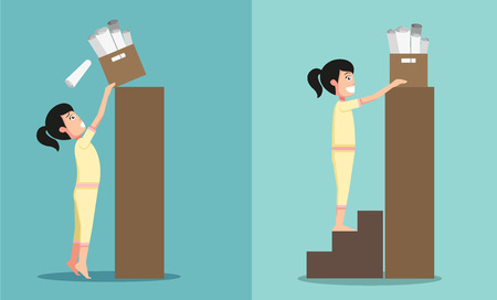 Improper versus against proper lifting ,illustration,vector Stok Fotoğraf - 41610328