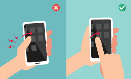 holding smart phone: Improper vs proper hand holding and touching smart phone illustrationvector