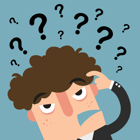 question concept: business thinking with question marksillustration vector Illustration