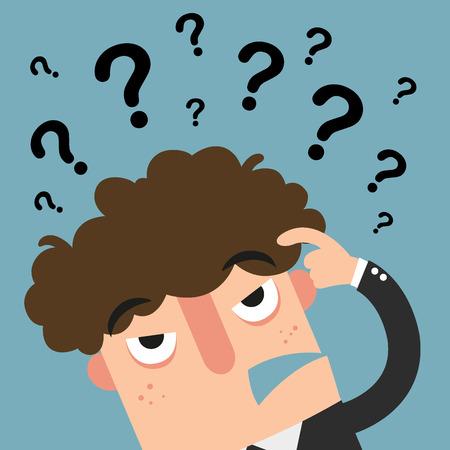 ejecutivos: pensamiento empresarial con la pregunta marksillustration vectorial