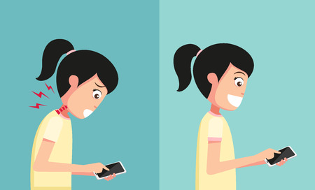 holding smart phone: Improper vs proper hand holding and playing smart phone illustrationvector