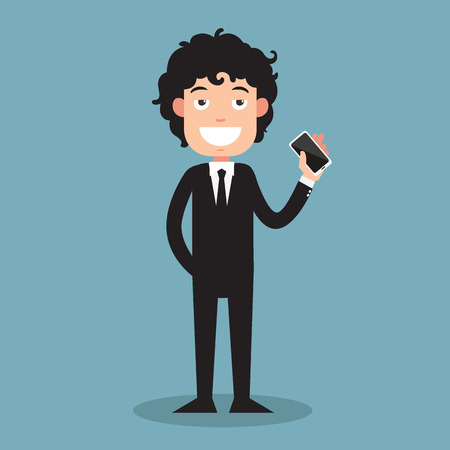 man at the phone: business man show his smart phone illustration vector Illustration