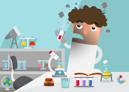 failed: Scientists doing experiment surrounded by lab equipment .illustration,vector Illustration