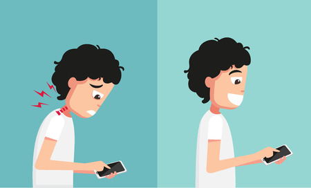 hand holding smart phone: Improper vs proper hand holding and playing smart phone illustrationvector
