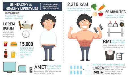 unhealthy diet: The comparison of the man who had unhealthy lifestyle before becoming healthy and strong.vector illustration