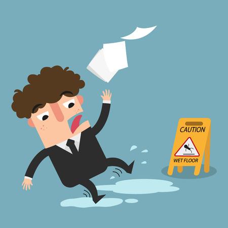 wet floor caution sign.Danger of slipping isolated illustration vector Illustration