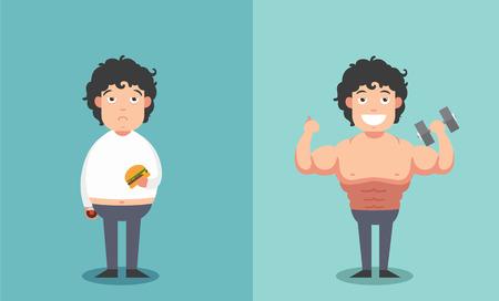 männer nackt: Vor und nach dem Mann in dick und dünn Formen-Konzept-Illustration
