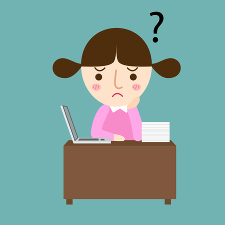 illustration of isolated girl thinking with question marks vector