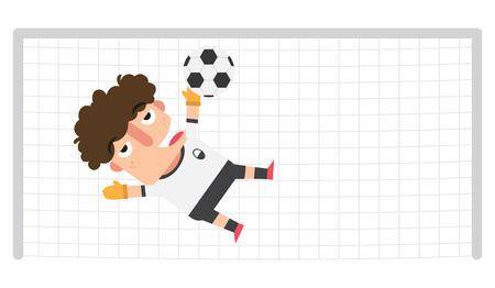 arquero: Un portero salvar un balón de fútbol en un objetivo posible, ilustración, vector