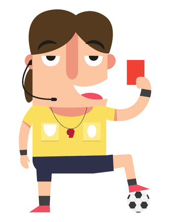 The referee showing the red card,illustration,vector