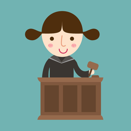 judge hammer: illustration of isolated judge with gavel makes verdict for law vector Illustration
