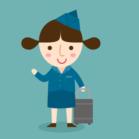 hostess: illustration of isolated happy air hostess vector Illustration