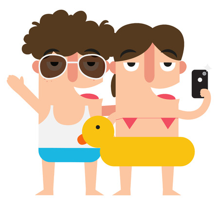 summer fun: Taking selfie woman and man,summer vacation fun,illustration,vector