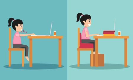 buena postura: La muestra del tipo sentado en caminos equivocados y derecho ilustración, vector