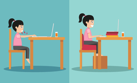 The sample of the guy sitting in wrong and right ways illustration,vector