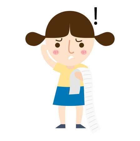 paying bills: illustration of isolated a young girl paying a lot of bills vector