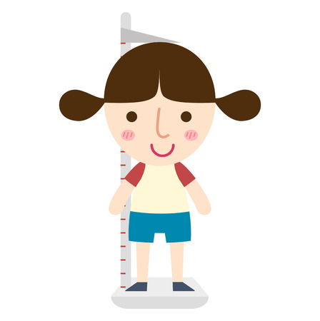 illustration of isolated height measurement young girl