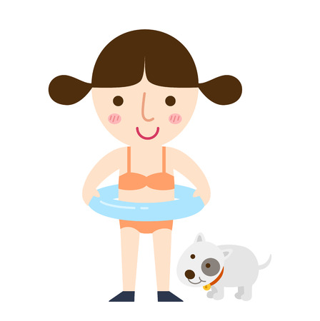 rubber ring: illustration of isolated young girl and rubber ring vector Illustration