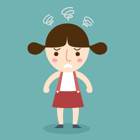 sad cartoon: illustration of isolated angry girl vector Illustration