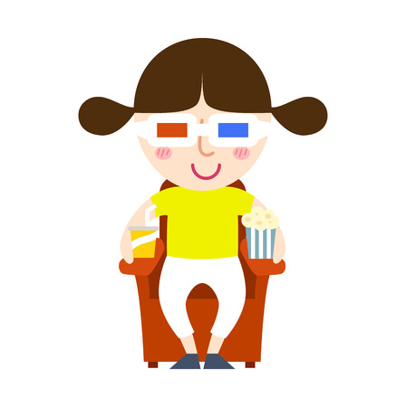 watching movie: illustration of isolated young girl watching a movie vector