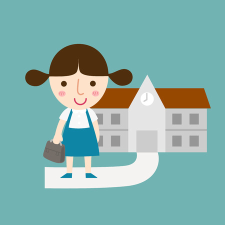 child of school age: illustration of isolated pupils girl vector Illustration