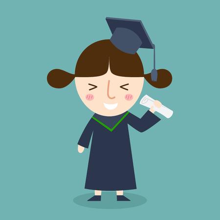 academic robe: illustration of isolated diploma graduating happy student girl vector Illustration