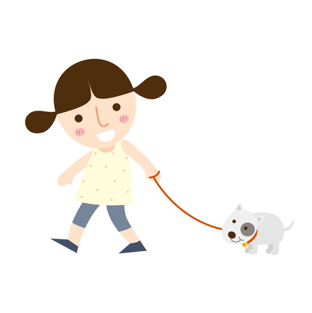 outdoor glamour: illustration of isolated young girl walking a dog