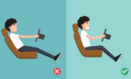good and bad: Best and worst positions for driving a car Illustration