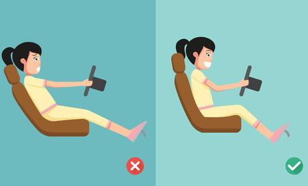 Beste en slechtste posities voor het besturen van een auto, illustratie, vector