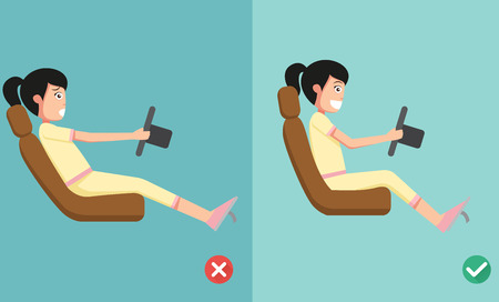 buena postura: Mejores y peores posiciones para conducir un coche, ilustración, vector Vectores