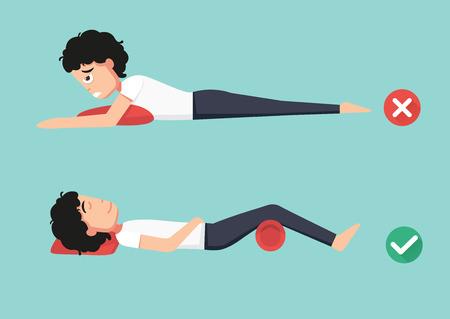 buena postura: Mejores y peores posiciones para dormir, ilustración, vector