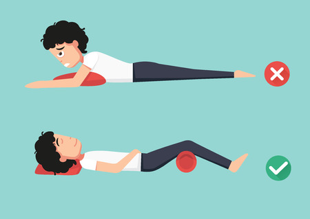 Best and worst positions for sleeping, illustration, vector