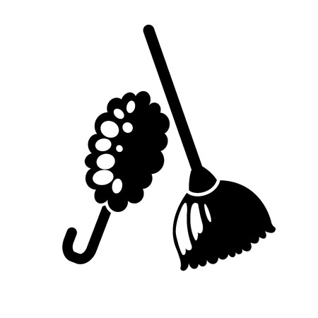 duster: illustration of feather duster and broom icon