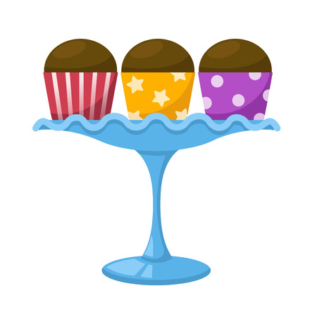 cupcake illustration: illustration of isolated cupcake in a glass cake stand vector