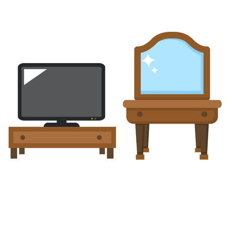 media room: illustration of isolated lcd tv with dressing table vector
