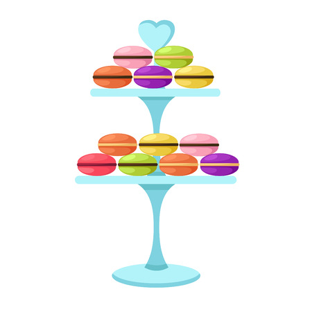 cake stand: illustration of isolated macarons in a glass cake stand vector