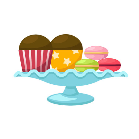 cake stand: illustration of isolated macarons with cupcake in a glass cake stand vector
