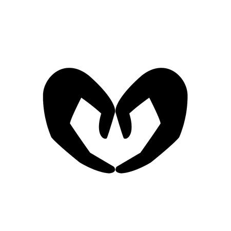 love shape: illustration of love shape hand icon