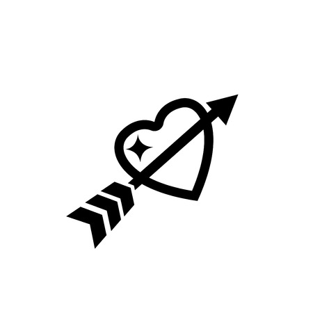 love icon: illustration of love heart with arrow icon