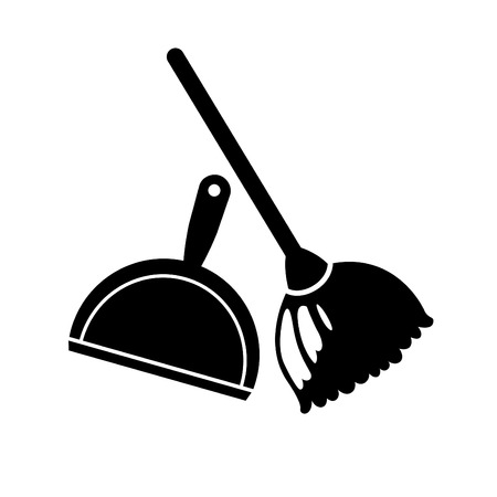 dustpan: illustration of broom and dustpan icon