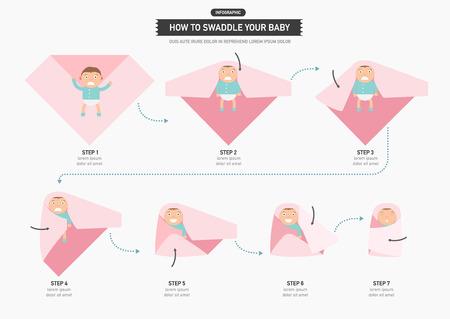 Cómo envolver a su bebé infografía, ilustración vectorial Foto de archivo - 43129274