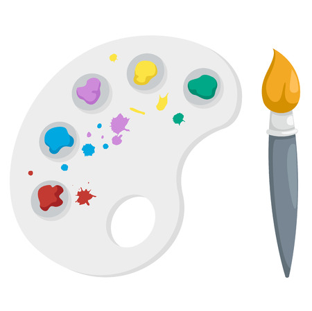 digitizer: Paint brush with palette,illustration,vector