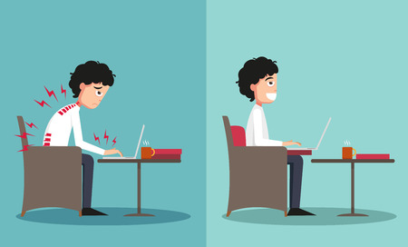 The sample of the guy sitting in wrong and right ways, illustration, vector Vettoriali